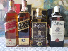 4 old bottles - 1 Johnnie Walker Black Label 12 years 70 cl - 1 Johnnie Walker Red Label 70 cl - 1 Ballantines 12 years 75 cl - 1 Ballantines Finest 70 cl - all with box
