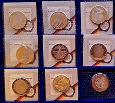 Germany – 5 DM 1980/1986 (9 different coins)