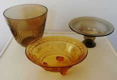 Schneider and Lorrain - Art Deco glass vase & dishes