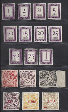 Suriname 1950 - Postage and air mail stamps - NVPH P36/46, LP20/22, LP24/26