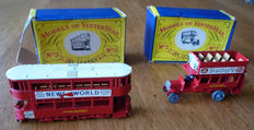 """Lesney Matchbox MoY - Misc. scales - Lot with B-Type Bus No.2 and """"E"""" Class Tramcar No.3"""