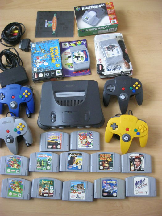 Nintendo 64 With 4 Controllers Expansion Pak And 14 Games