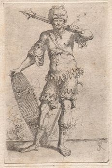 Salvator Rosa (1615-1673) - Exotic warrior with lion-head cap - Originele 'Rosa' ets uit the figurine series - 1653/1658,