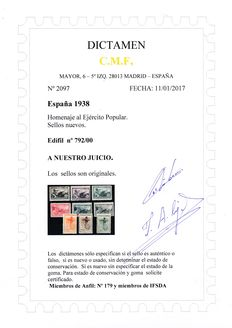 Spain 1938 – Spanish Republic – Tribute to the Popular Army – Edifil number 792/800 with judgement