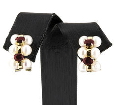 18 kt gold - Earrings - 1.20 ct Rubies - 4.75 mm Akoya pearl - Earring height: 15.40 mm
