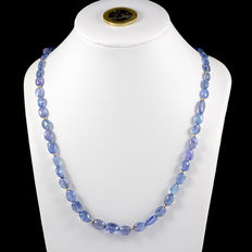Tanzanite necklace with 18 kt/750 yellow gold clasp and dividers
