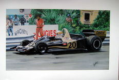 Jody Scheckter driving the Walter Wolf Racing car - Monaco 1977  - Fine Art Print