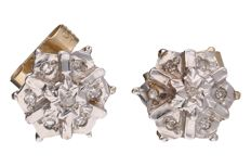 Bi-colour ear studs each set with 7 brilliant cut diamonds of approx. 0.005 ct Total: 0.035 ct