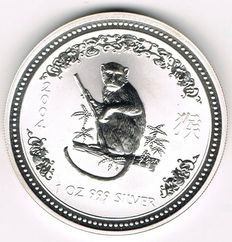 Australia - 1 Dollar 2004 - Lunar I - Year Monkey - 1 oz silver