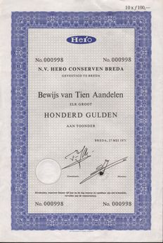 Netherlands - Hero Conserven - Breda-1971 - proof of 10 shares each NLG 100