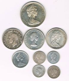 Canada - Lot of 9 Coins - silver