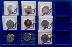 Germany – 5 DM 1979/1986 (9 different coins)