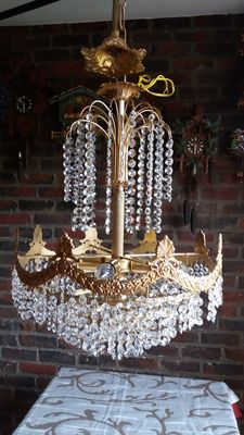 Chandelier, fountain style, with 800 carved crystal glasses and copper body, second half of the twentieth century