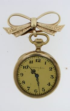 Tiffany & Co FOB Ladies Pocket Watch  With Gold Brooch Swiss 1915
