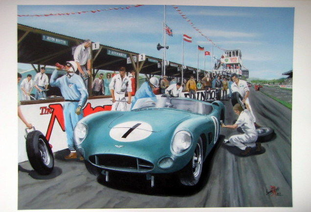 Fine Art : Aston Martin DBR1 #1 Goodwood TT 1959. Salvadori and Moss