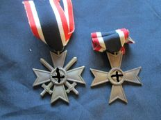 Third Reich. War Merit Cross 2nd class with and without swords WWI