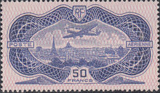 France 1936 - airplane above Paris, Yvert Luchtpost no.15 with old certificate Grobe 1965