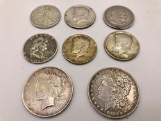 United States – ½ Dollars 1893/1964 + Dollar 1880 and 1923 (total of 8 pieces) - silver