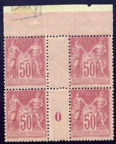 France 1900 - Sage type I, 50 c. Pink in block of 4 with vintage 0 and double-sided printing - Yvert no. 104