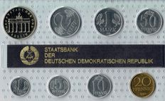 GDR of East Germany - course coin set 19990 (1 pfennig - 5 mark, 8 coins)