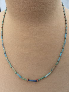 Egyptian necklace with faience beads - 58 cm.