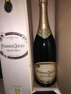 Perrier Jouet Grand Brut NV wooden case – One Jeroboam (3 L).