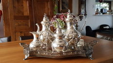 Heavily silver plated coffee and tea set.