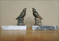 Book objects; Art Deco bookends in the shape of little birds - 1st half 20th century