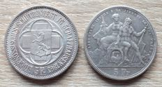 Switzerland - 5 francs 1865, 1883 shooting thaler ( 2 coins) - silver