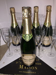 Perrier Jouet Grand Brut x 6, with an ice bucket & 6 Perrier Jouet flute glasses.