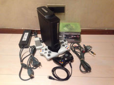 Microsoft XBOX 360 Pro 120GB with 3 wireless controllers, rechargeable battery and 10 top games -GTA V, Fifa, Call of Duty and more.