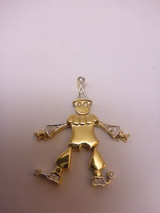 18 kt bi-colour clown pendant with moveable hands, feet, arms and head, with diamonds, 43 mm x 20 mm