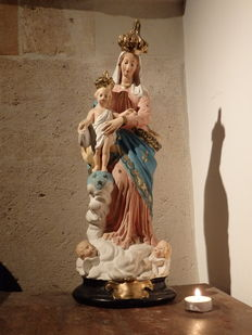 Wonderful large Mary statue, Notre Dame Des Victoires - FRANCE - 1st quarter of 20th century