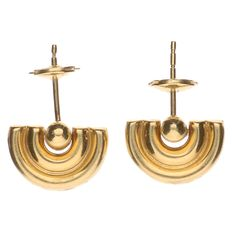 Yellow gold ear studs