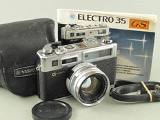 Yashica Electro 35 GS with accessories.