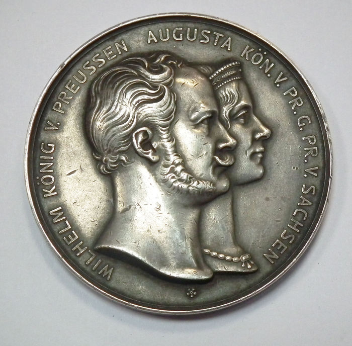Germany, Brandenburg-Prussia - Big Silver Medal no Date commemorating to the Silver Wedding of Wilhelm I and Augusta von Sachsen-Weimar