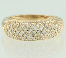 18 kt yellow golden ring inlaid with 80 pave set brilliant cut diamonds