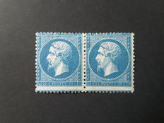 France 1862 – Napoleon III, with the words Empire Franc.  Pair of 20c blue signed Calves with digital certificate - Yvert No. 22