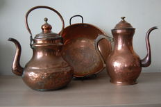 Old kettle, coffee pot and conserve pan - red copper - Belgium