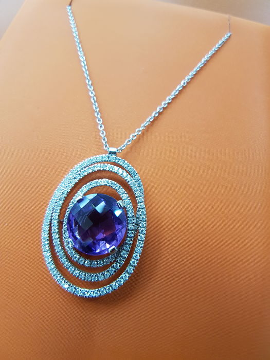 Alfieri & St John - 18kt White Gold Chain and Amethyst and Diamond Pendant