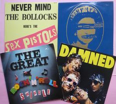 """Punkpackage; The Sexpistols (very rare 11 numbers, French edition) God Save The Queen (12"""", Single, 45 RPM) , The Damned (blue wax), Soundtrack The Great Rock 'n' Roll Swindle"""