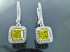 White gold ear studs set with 2 fancy deep intense yellow cushion cut diamonds & 54 cut diamonds, 1.82 ct in total