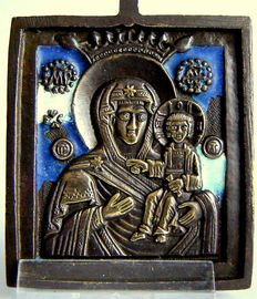 "19th century Russian travel icon ""Crowned M. G Hodegetria of SMOLENSK"" 67 x 55 mm - 2 colours enamel."
