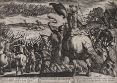 Antonio Tempesta (1555 - 1630) - The battle of David against Goliath - Early impression by Tempesta himself - 1613