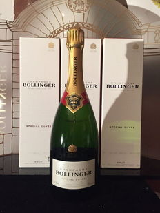 Bollinger Cuvée Speciale Champagne - 3 bottles with boxes.