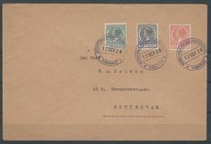 The Netherlands 1924 - Exposition stamps on letter and 'Veth' type with plate flaws - NVPH 136/138 + 137P