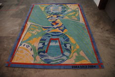 Dora Dolz - hand knotted woollen carpet depicting the bridges of Rotterdam