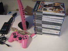 Rare Pink PS2 Slim console + pink controller + memorycard + 15 good games (lego indiana jones,jak and daxter,Stitch,Lord of the rings,Ratchet and clank,Need for speed,etc)