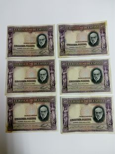 Spain - Lot of 6x 50 pesetas banknotes, 1935 Spain, CORRELATIVE - Pick 88