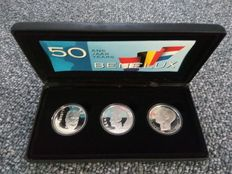 "Belgium, the Netherlands and Luxembourg, ""50 Jaar Benelux"" (""50 Years of Benelux"") case with two 250 francs coins and one 10 guilders coin, silver"